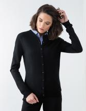 Ladies` Cashmere Touch Acrylic Crew Neck Cardigan